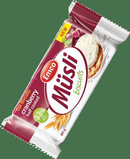 Müsli biscuits cranberry half coated with yoghurt