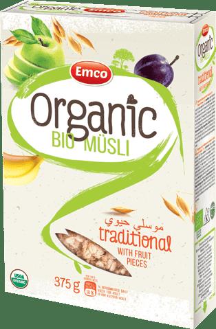 Bio traditional müsli with fruits