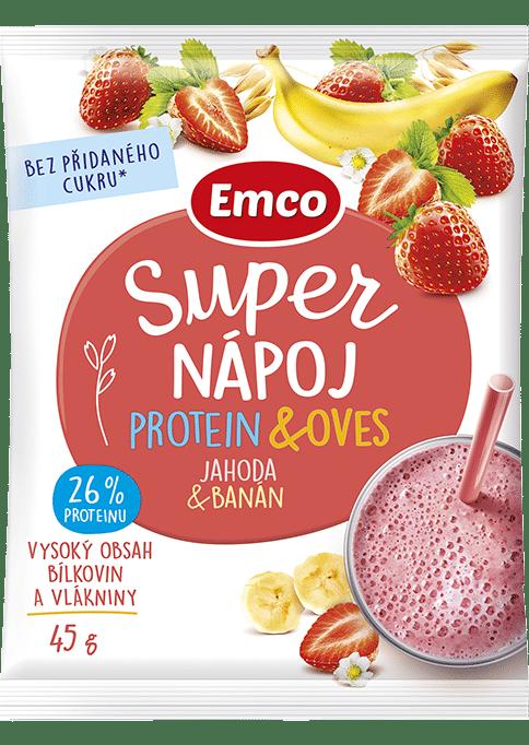 Levně Super nápoj protein & oves - jahoda s banánem